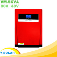 5000W Pure Sine Wave Solar Hybrid Inverter MPPT 80A Solar Panel Charger and AC Charger All in One 230VAC Solar Charge Controller