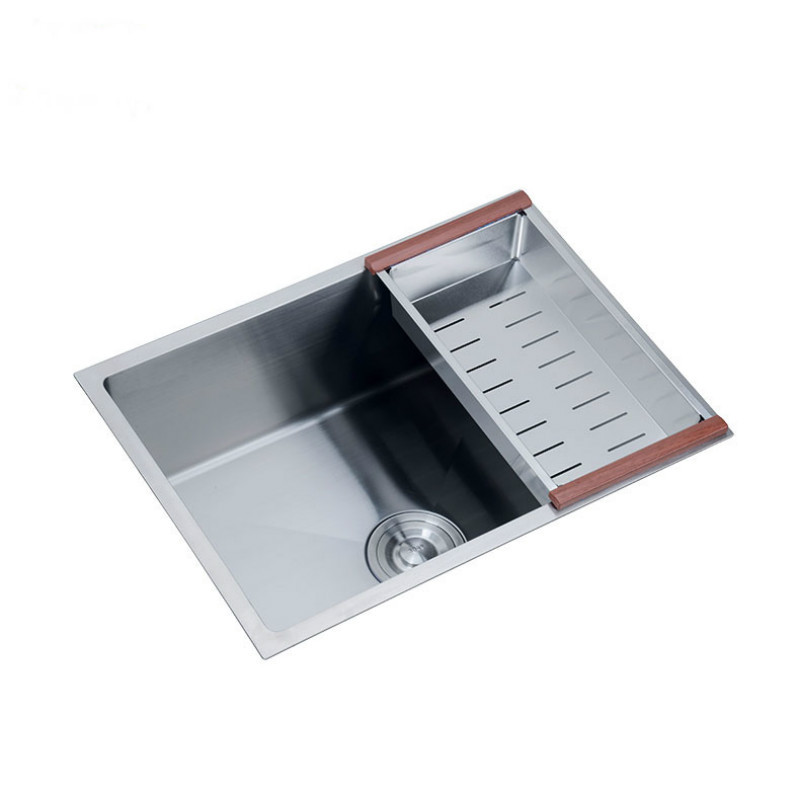 Stainless Steel Brushed Kitchen Sink Single Bowel 4MM  Thickening Basin Set With Drain Basket Free Under Mount Kitchen Sink-A98W