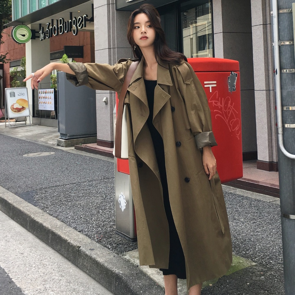 khaki Trench Coat Casual women's long Outerwear loose clothes for lady with belt spring autumn fashion high quality army green 3