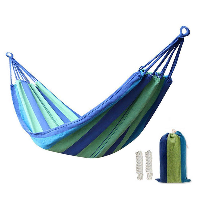 Portable Nylon Fabric Rope Outdoor Swing Garden Camping Hanging Sleeping Hammock Canvas Bed With Same Color Scheme Sack portable outdoor traveling camping parachute nylon fabric sleeping bed hammock