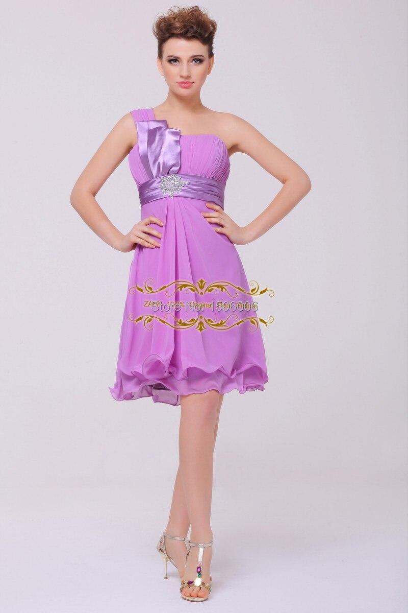 Color assented uno hombro Purple vestidos fiesta de graduación hasta ...