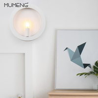 MUMENG Simple Iron Wall Lamp E14 Candle Bulb Led Light Ring Wall Sconce Surface Mounted Wall