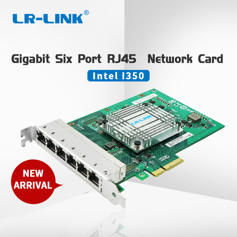LR LINK 2006PT Gigabit Ethernet Industrial Adapter Six Port PCI Express Lan Network Card Server Adapter Intel I350 NIC-in Network Cards from Computer & Office