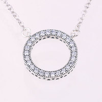 2017 Round Limited Collares Maxi Necklace Swarovski Crystal Fashion Jewelry 100 925 Sterling Fit Original Women