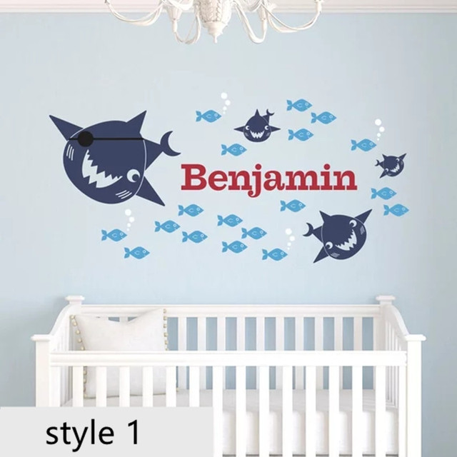 pirate shark wall sticke personalized name baby ocean nursery under