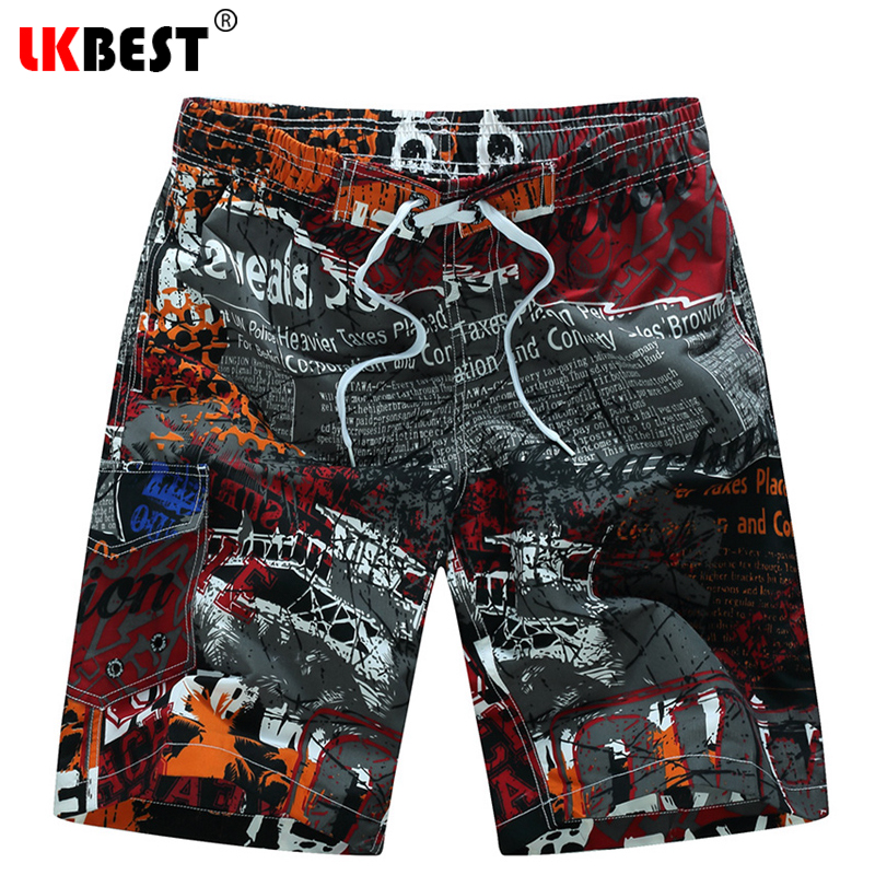 LKBEST Loose Men's board shorts high quality men beach short quick dry mesh lining men swimwear short plus size M-6XL 1523