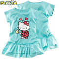 Menoea New 2017 Autumn girls dress cute cartoon clothes 2 colors of red and pink nice Clothes lovely baby girls dress