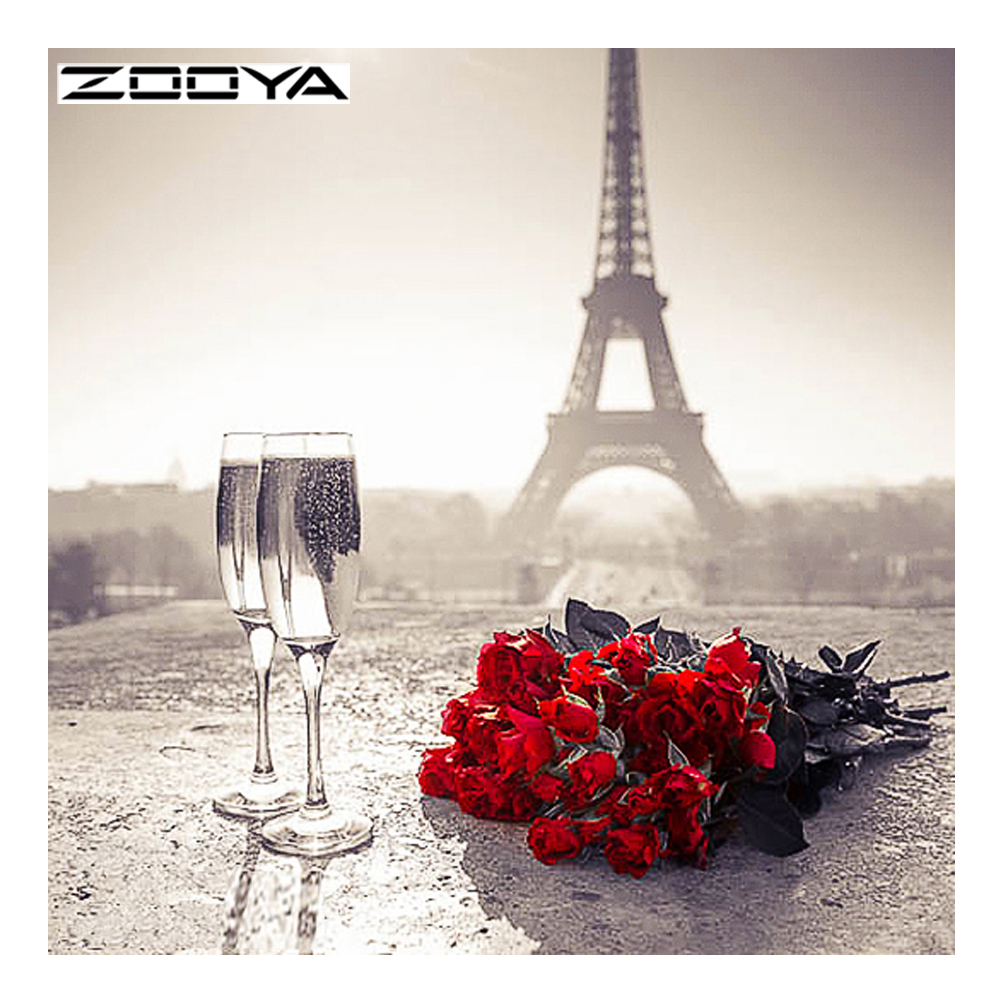 ZOOYA Diamond Painting Red Rose Wne Cup Tower Diamond Embroidery Flowers Pattern Rhinestones Decor Needlework Mosaic Kits RF1619