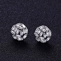 Luxury Trendy brand new AAA cubic zirconia clear stone round stud earrings for women