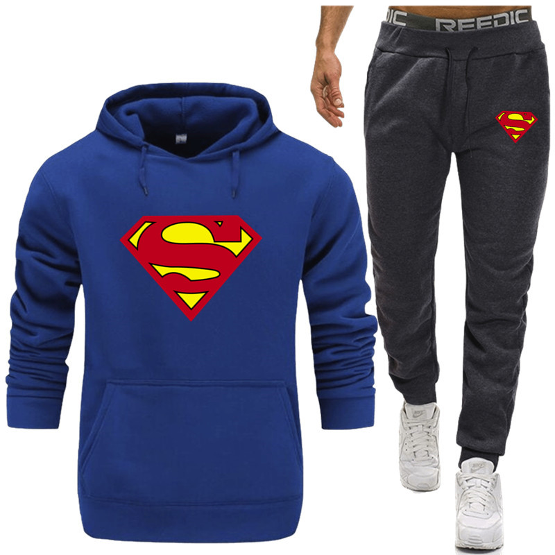 Hot Sale Superman Tracksuit Men Thermal Underwear Sportswear Sets Fleece Thick Sporting Suit Hoodie+Pants Sporting Suit Male