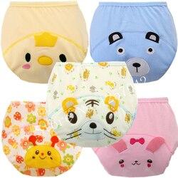 5 шт., Детские тренировочные штаны, хлопковые Многоразовые детские подгузники, водонепроницаемые тканевые подгузники, моющиеся подгузники, ...