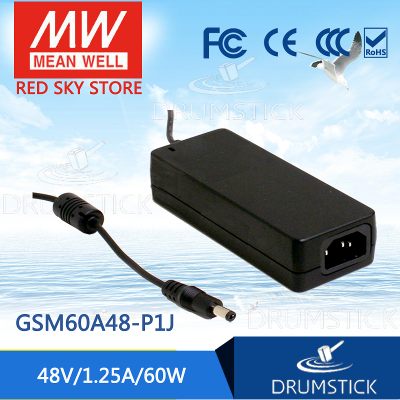 100% Original MEAN WELL GSM60A48-P1J 48V 1.25A meanwell GSM60A 48V 60W AC-DC High Reliability Medical Adaptor [Real6] 1mean well original gsm160a24 r7b 24v 6 67a meanwell gsm160a 24v 160w ac dc high reliability medical adaptor