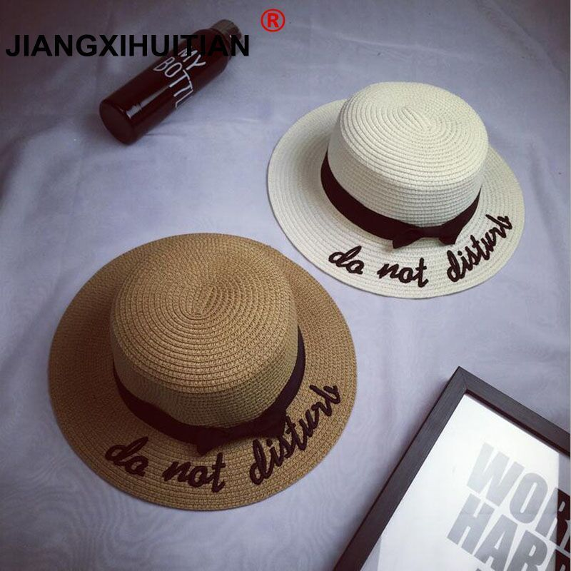 Jiangxihuitian 2018 Summer Embroidery Letter Boater Hat Ribbon Round Bow Flat Top Wide Brim Straw Hat Women Fedora Panama Hat