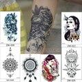 Caliente venta etiqueta engomada del tatuaje femenino impermeable simulación belleza del cráneo del pirata de flores retro owl lobo tótem de buda brazo comercio pintura de cuerpo