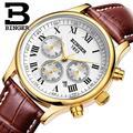 Schweiz uhren männer luxus marke Armbanduhren BINGER Mechanische Armbanduhren lederband Wasserdicht B6036-7