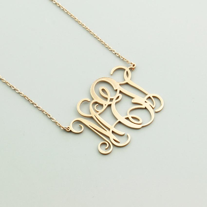 Monogram Necklace Custom Initial Pendant-Chains Gifts Jewelry Kids Fashion Women Birthday