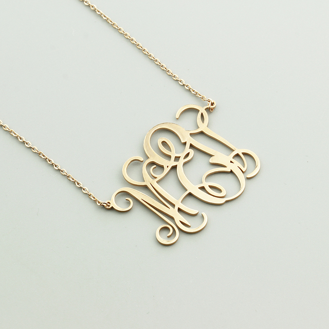 b1e26eaf82 US $7.99 20% OFF|Fashion Personalized Custom Monogram Necklace Women  Initial Pendant Chains Necklaces Birthday Gifts Valentine's Day Jewelry  Kids-in ...