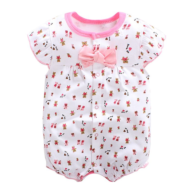 Baby Girl Romper Floral Print Baby Girls Clothes Summer Roupas Bebe Bowknot Decorate Newborn Baby Girl Romper childrendlor baby brocade floral print