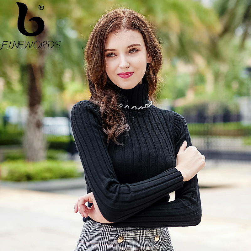 FINEWORDS Solid Knitted Turtleneck Pullover Christmas Sweater Women Vintage Winter Slim Warm Knit Sweater Long Sleeve pull femme
