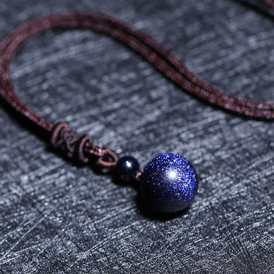 Natural Blue Sand Beaded Necklaces for Woman Blue Sand Bead Transfer Good Luck Bead Pendant Rope Chain Necklace Handmade Jewelry