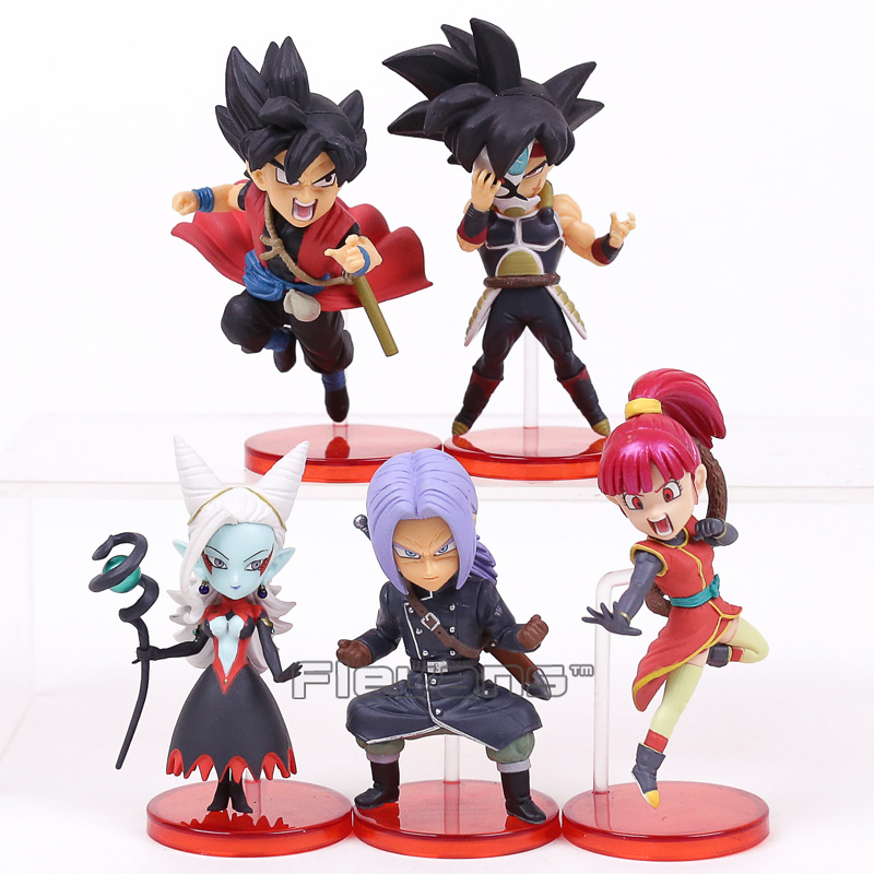 Dragon Ball héroes 7th aniversario SSJ Zeno Goku Avatar troncos Majin Towa PVC figuras Juguetes 5 unids/set