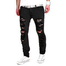 Street Side Fashion Damaged Denim Distressed Jeans Slim Fit Ripped Skinny Jeans for Men High Quality Biker Cargo Black Jeans
