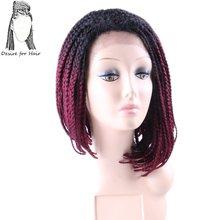 Desire для волос 14 inch предварительно плетеный ящик косы боб парик термостойкие синтетические кружева спереди парики с волосы младенца Ombre Бордовый