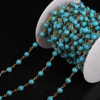 5Meter/lot,6mm Blue Turquoises Faceted Round bead Rosary Chain,Turquoises Link Brass Wire Wrapped Chain DIY Woman sweater chains