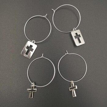Minimalist Silver Color Small Cross Pendant Women's Vintage Cross Charm Hoops Earring 1