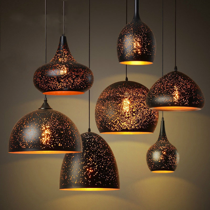Nordic Loft Retro Cafe Bar Iron Etching Lampshade Pendant Lamp Single Head Bar Restaurant Industrial Wind Rust Pendant Lights