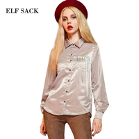 Elf SACK P Vintage Tassel Loose Shirt Pearl Satin Turn Down Collar Long Sleeve Shirt Female