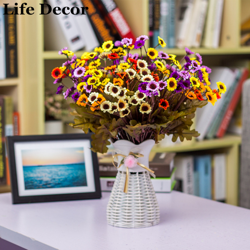 24 Small Heads Artificial Flowers Simulation Sunflower Silk Cloth Flower Autumn Chrysanthemum for Home Wedding Decoration