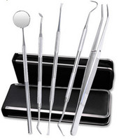 5Pcs Set Dental Tools Mirror Tweezers Oral Hygiene Explorer Probe Tooth Stains Remover Cleaning Hook Pick