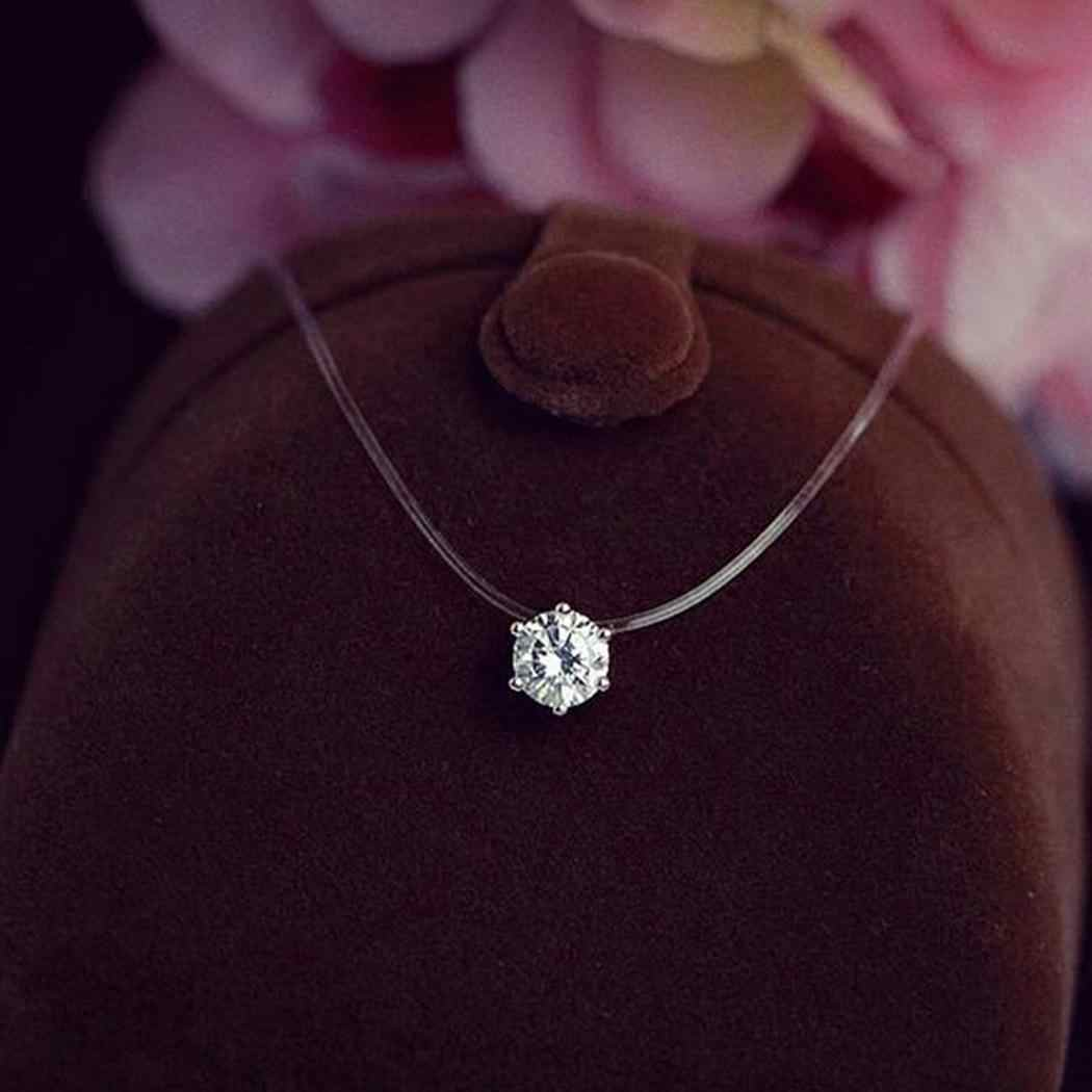 Fashion Necklace Women Invisible Rhinestones Transparent Fishing Line Chain Pendant Necklaces Fashion Jewelry collier femme