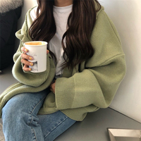 2019 new autumn winter korean girl's Cashmere sweater hooded zippers loose big size cardigan thick clothes women jacket