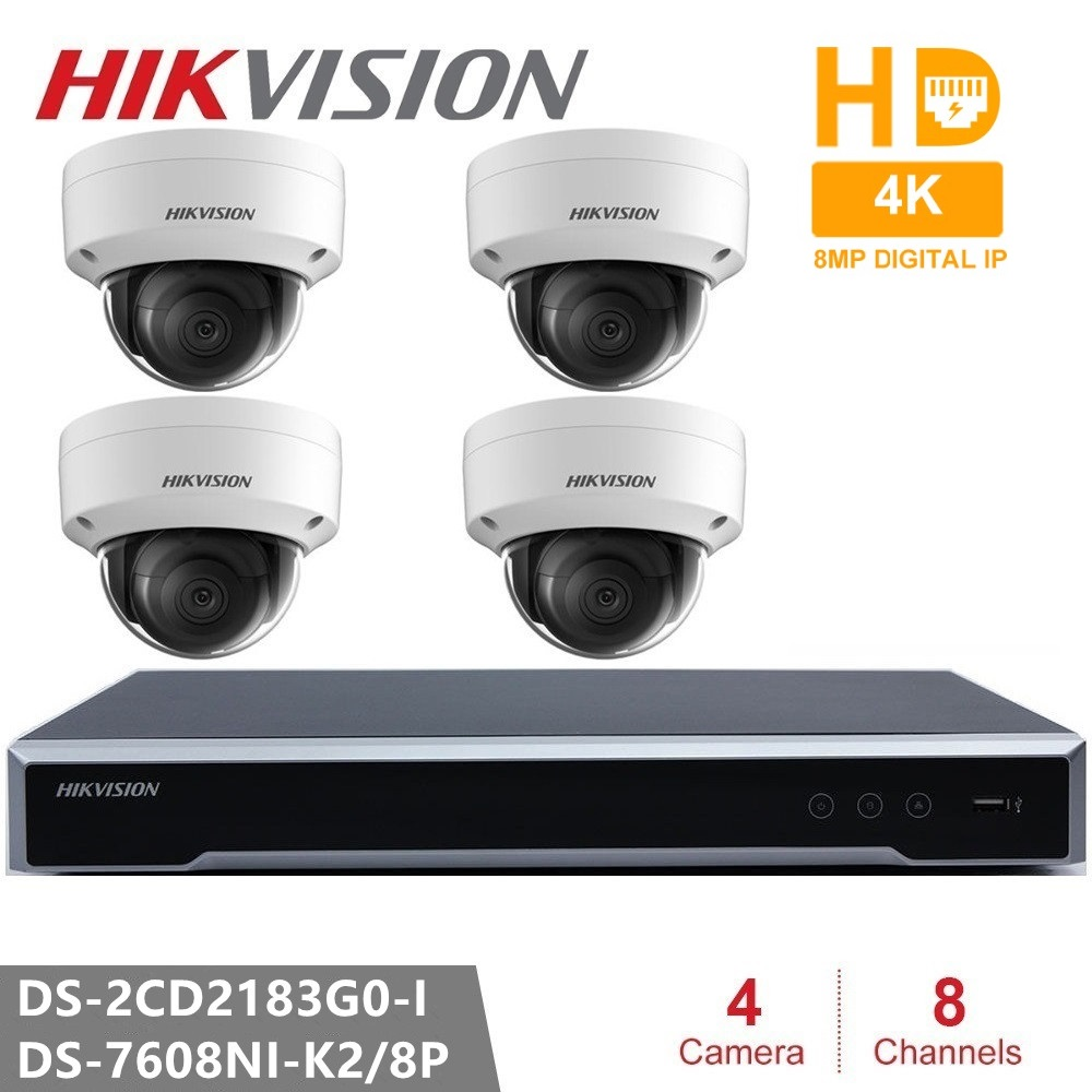 Hikvision CCTV Camera Kits 8CH 8POE 4K NVR + DS-2CD2183G0-I 8MP IP camera Network mini Dome Security Camera POE 30m IR H.265+