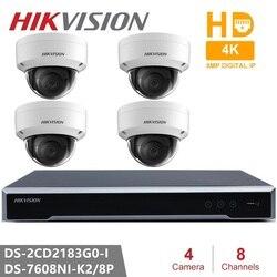 Hikvision kamera telewizji przemysłowej zestawy 8CH 8POE 4K NVR + DS 2CD2183G0 I 8MP kamera IP sieć mini kamera kopułkowa monitoringu POE 30m IR H.265 + w Kamery nadzoru od Bezpieczeństwo i ochrona na