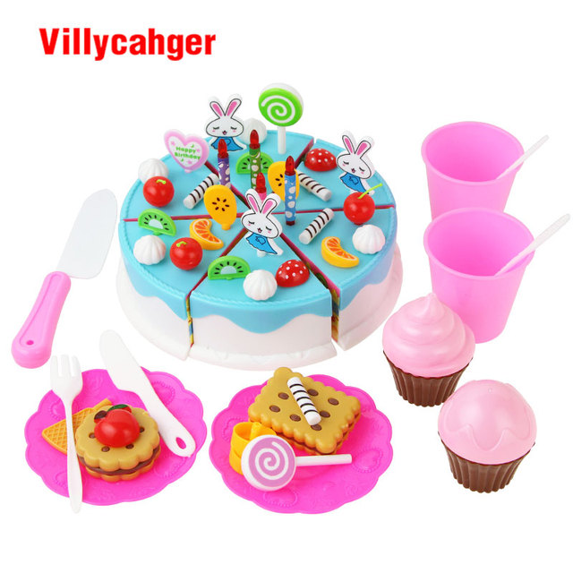 64 Pcs Set DIY Happy Birthday Cake Food Fruit Cutting Toy Kids Plastic Pretend Role Play House Kitchen Toys Blue Girls Gifts