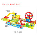 Car Toys 77pcs/set Toy Thomas Train New Product Children 3D Ferris Wheel Park Building Blocks Electric Train