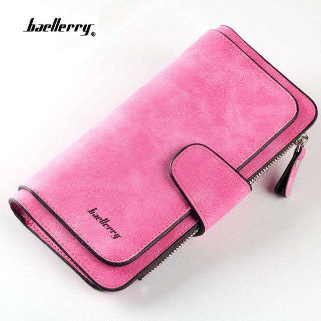 2018 New Fashion Women Wallets Drawstring Nubuck Leather Zipper Wallet Women's Long Design Purse nubuck leather hasp Clutch
