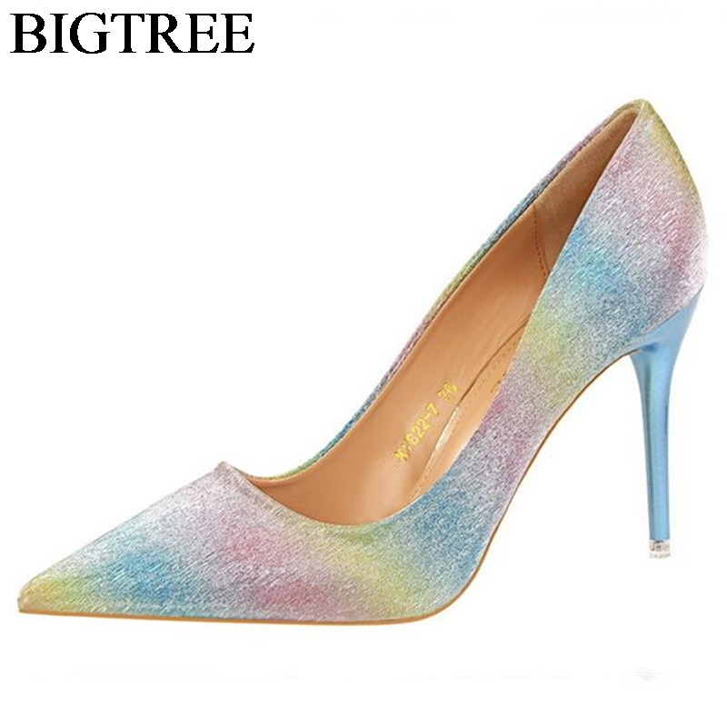 BIGTREE Rainbow Pumps Party Shoes Ladies Sexy Pointed Toe High Heels 9.5 CM Bling Wedding Shoes Woman Brand Shallow Slip On newest pointed toe high heel shoes sexy lace shallow mouth woman pumps bling bling crystal stiletto heels
