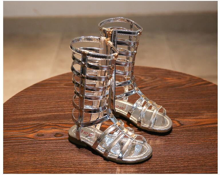 ... New Summer 3 Colors Baby Girl Cut-Outs Hollow Roman Sandals Children  Knee Boots Gladiator ... d65f5b874ab8