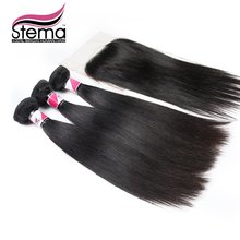 FreeShipping 7A Grade Brazilian Virgin Hair Straight 3pcs Hair Weft  With 1pc Lace Closure Brazilian Virgin Human Hair Extension