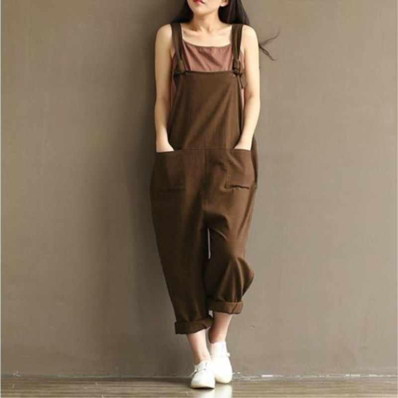 Модные, большие размеры, женские льняные штаны для девочек, хлопковый гаремный комбинезон на лямках, Свободные повседневные брюки, комбинезон, новая верхняя одежда