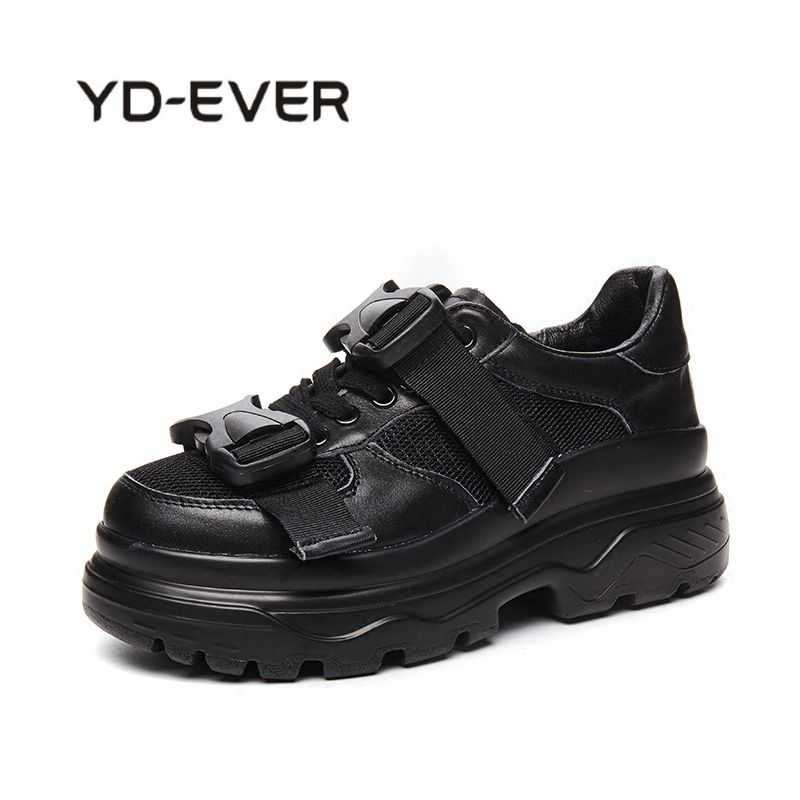 YD-EVER PU Leather + Mesh Womens Platform Dad Sneakers 2018 Fashion Buckle Women Flat Walking Shoes Woman Casual Footwear