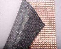 24x40cm self adhesive sheet mesh rhinestone banding 10mm square champange color stone for crystal motif