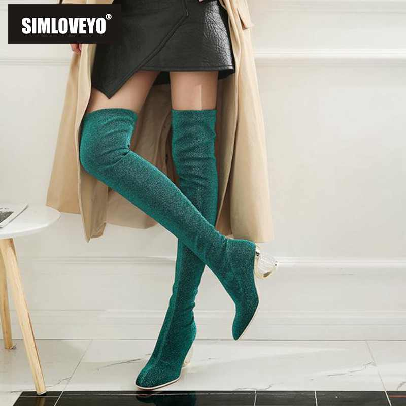 SIMLOVEYO Women Boots Stretch Slim Thigh High Boots Over the Knee Boots Clear transparent Strange Mid