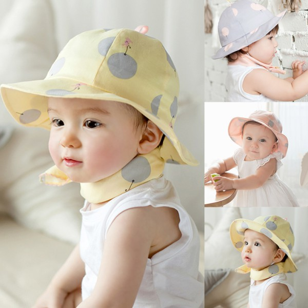2016 Sweet Children Sun Cap Polka Dot Summer Outdoor Baby Girl Beach Bucket Hat Girls' Baby Clothing Mother & Kids