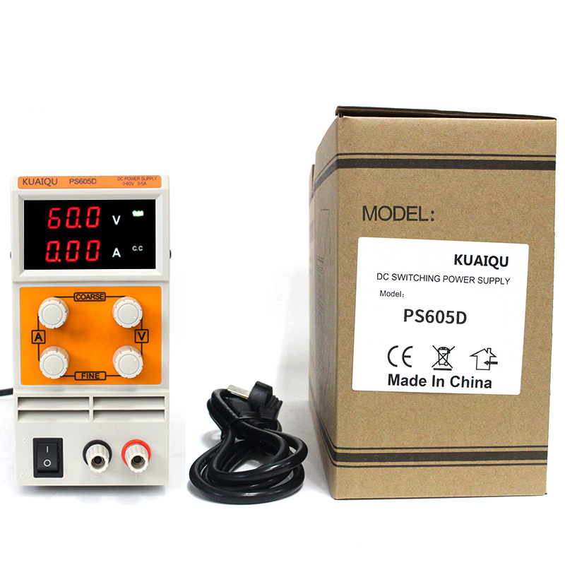 KUAIQU 60V 5A dc power supply Variable Adjustable laboratory Power Supply Transformers Resouce Three display PS605D