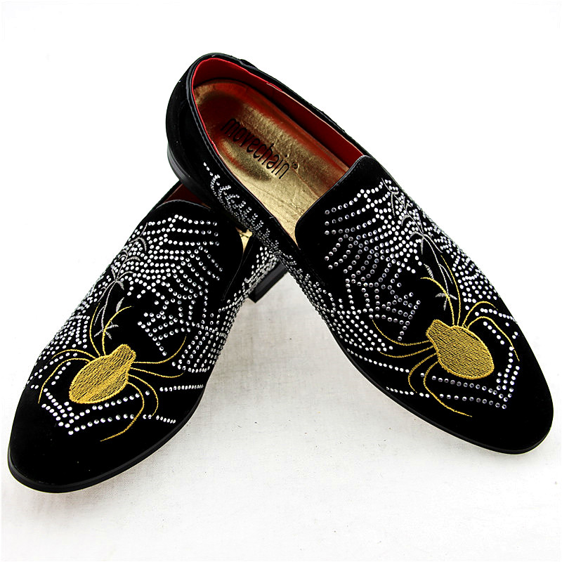 Movechain Mens Fashion Luxury Brand Suede Leather Loafers Mens Casual Rhinestone Spider Moccasins Shoes Man Party Driving Flats Men's Shoes